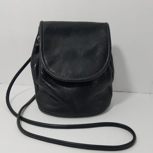 Fossil  Black Leather Drawstring Bucket Shoulder